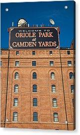 Low Angle View Of A Baseball Park Acrylic Print
