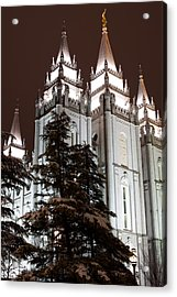 Low Angle View Of The Mormon Temple Acrylic Print