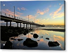 Low Tide Reflections At The Pier  Acrylic Print