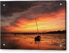 Low Tide Sunset Sailboats Acrylic Print
