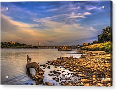 Low Water Vistula Riverscape In Warsaw Acrylic Print