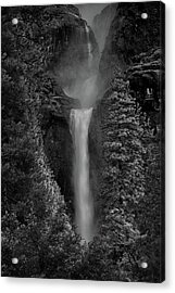 Lower And Middle Yosemite Falls In Black And White Acrylic Print