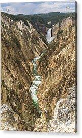 Lower Falls Of The Yellowstone - Portrait Acrylic Print