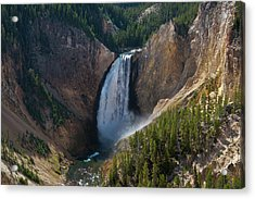 Acrylic Print featuring the photograph Lower Falls Of Yellowstone River by Roger Mullenhour