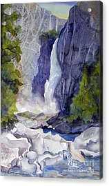 Acrylic Print featuring the painting Lower Falls by Pat Crowther
