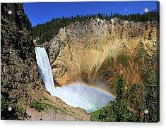 Lower Falls With A Rainbow Acrylic Print