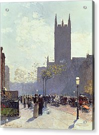 Lower Fifth Avenue Acrylic Print by Childe Hassam