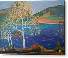 Acrylic Print featuring the painting Lower Hadley Pond by Francine Frank
