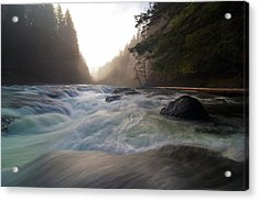 Lower Lewis River Falls During Sunset Acrylic Print by David Gn