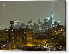 Lower Manhattan Cityscape Seen From Brooklyn Acrylic Print