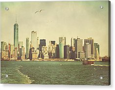 Lower Manhattan From The Ferry Acrylic Print by Erin Cadigan