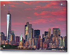 Lower Manhattan In Pink Acrylic Print