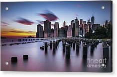 Lower Manhattan Purple Sunset Acrylic Print
