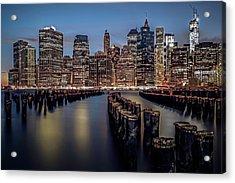 Lower Manhattan Skyline Acrylic Print by Eduard Moldoveanu