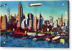 Lower Manhattan Skyline New York City Acrylic Print by Vincent Monozlay