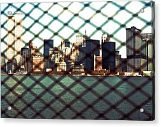 Lower Manhattan Through The Fence Acrylic Print by Kellice Swaggerty