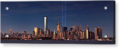 Acrylic Print featuring the photograph Lower Manhattantribute In Light by Emmanuel Panagiotakis