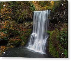 Lower South Falls Autumn Acrylic Print by Loree Johnson