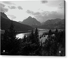 Lower Two Medicine Lake In Black And White Acrylic Print