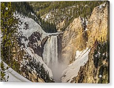 Acrylic Print featuring the photograph Lower Yellowstone Falls In Winter by Yeates Photography