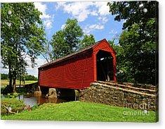 Loys Station Covered Bridge Frederick County Maryland Acrylic Print