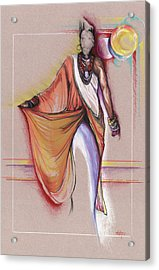 Acrylic Print featuring the drawing Lpr Black Woman by Anthony Burks Sr