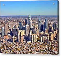 Acrylic Print featuring the photograph Lrg Format Aerial Philadelphia Skyline 226 W Rittenhouse Sq 100 Philadelphia Pa 19103 5738 by Duncan Pearson