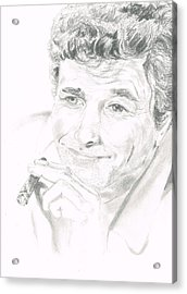 Acrylic Print featuring the drawing Lt. Columbo by Andrew Gillette