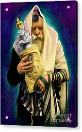 Acrylic Print featuring the painting Lubavitcher Rebbe With Torah by Sam Shacked