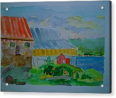 Acrylic Print featuring the painting Lubec Fishery by Francine Frank