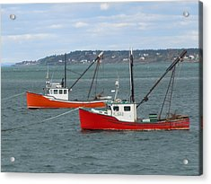 Acrylic Print featuring the photograph Lubec Lobster Boats by Francine Frank