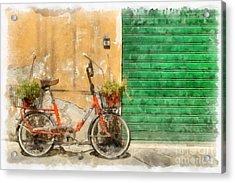 Lucca Italy Bike Watercolor Acrylic Print