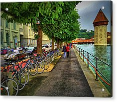 Acrylic Print featuring the photograph Lucerne Strolling by David A Lane
