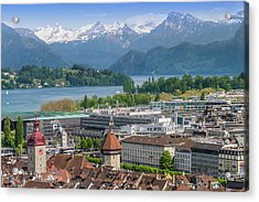 Lucerne View To Lake Lucerne Acrylic Print by Melanie Viola