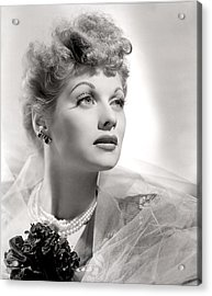 Lucille Ball Portrait With Gauze, 1940s Acrylic Print by Everett