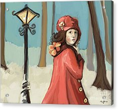 Girl In The Snow Acrylic Print