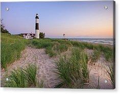 Acrylic Print featuring the photograph Ludington Beach And Big Sable Point Lighthouse by Adam Romanowicz