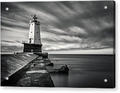 Acrylic Print featuring the photograph Ludington Light Black And White by Adam Romanowicz