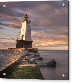 Acrylic Print featuring the photograph Ludington North Breakwater Light At Dawn by Adam Romanowicz