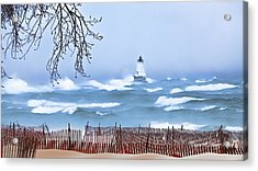 Ludington Winter Shore  Acrylic Print by Dick Bourgault