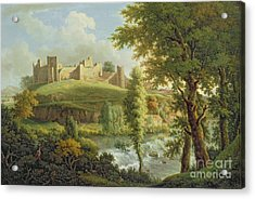 Ludlow Castle With Dinham Weir Acrylic Print by Samuel Scott