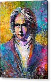 Ludwig Van Beethoven Portrait Musical Pop Art Painting Print Acrylic Print by Svetlana Novikova