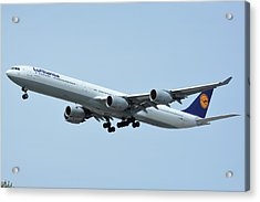 Acrylic Print featuring the photograph Lufthansa Airbus A340-600 D-aihw Los Angeles International Airport May 3 2016 by Brian Lockett
