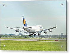 Lufthansa Airlines 747 Acrylic Print by Puzzles Shum