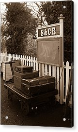 Luggage At Blunsdon Station Acrylic Print by Steven Sexton