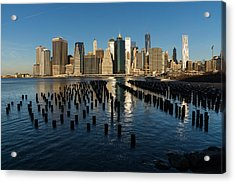 Luminous Blue Silver And Gold - Manhattan Skyline And East River Acrylic Print