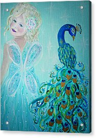 Luna Shows Her Feathers Acrylic Print by The Art With A Heart By Charlotte Phillips