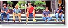 Lunch Break - Men At Work Series Acrylic Print by Merle Keller