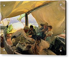 Lunch On The Boat Acrylic Print by Joaquin Sorolla y Bastida