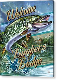 Lunkers Lodge Sign Acrylic Print by Jon Q Wright